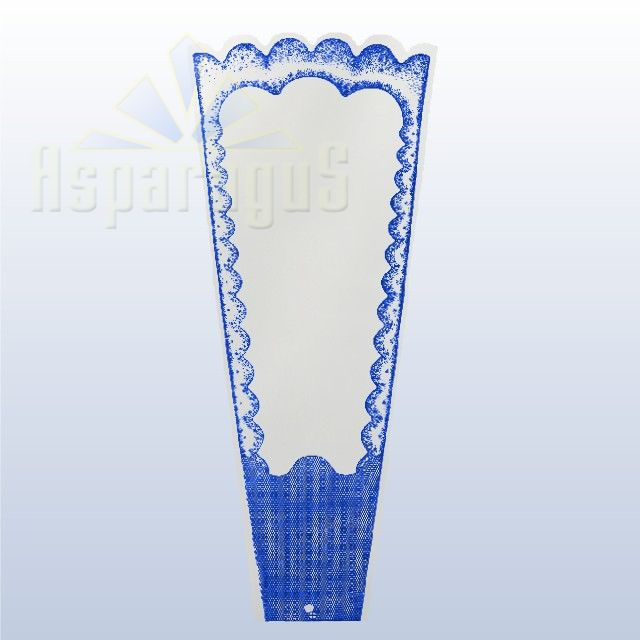 TRANSPARENT FLORAL SLEEVE FRAMED 30CM/ROYAL BLUE (50PCS/PACK)