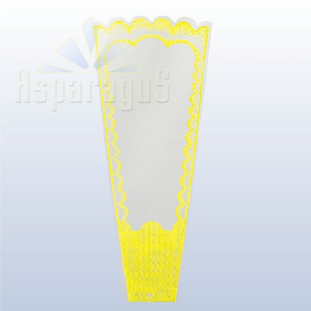 TRANSPARENT FLORAL SLEEVE FRAMED 30CM/YELLOW (50PCS/PACK)