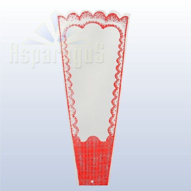 TRANSPARENT FLORAL SLEEVE FRAMED 30CM/RED (50PCS/PACK)