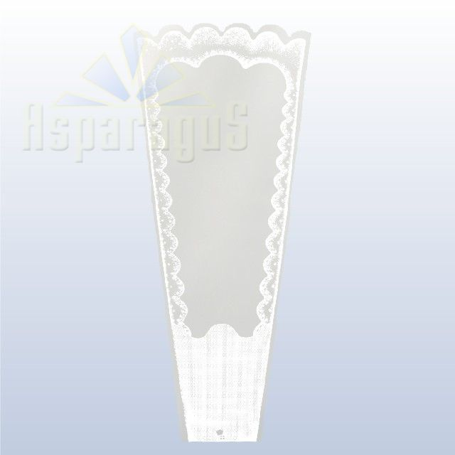 TRANSPARENT FLORAL SLEEVE FRAMED 20CM/WHITE (50PCS/PACK)