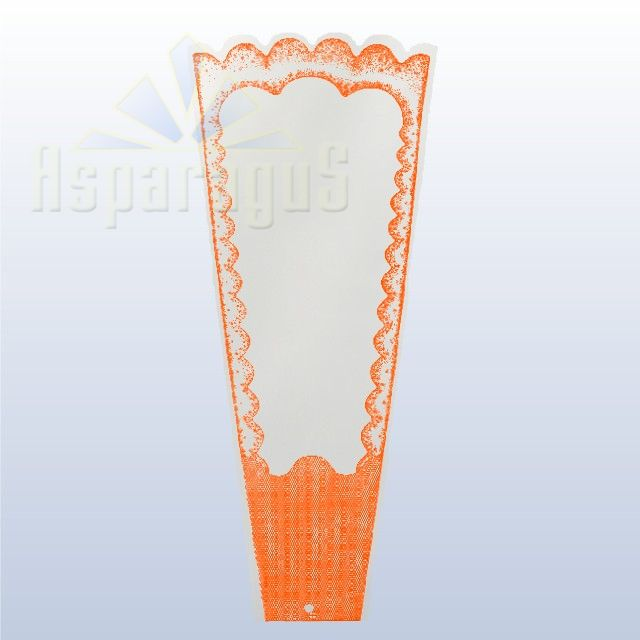TRANSPARENT FLORAL SLEEVE FRAMED 20CM/ORANGE (50PCS/PACK)