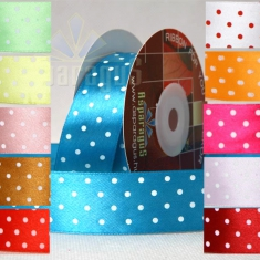 SATIN RIBBON WITH DOTS 25MMX10M