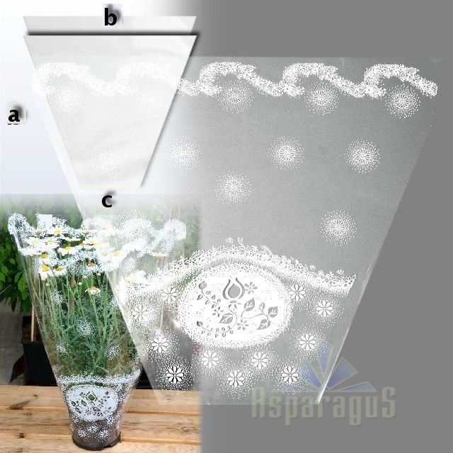 60CMX45CMX14CM POT WRAPPING CELLOPHANE/PRINTED/WHITE (50PCS/PACK)