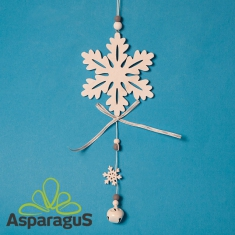 WOODEN SNOWFLAKE, KNOCKER 12CM
