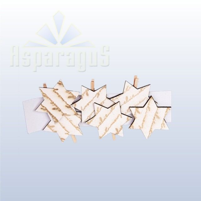 PATTERNED WOODEN STAR (6PCS/PACK)