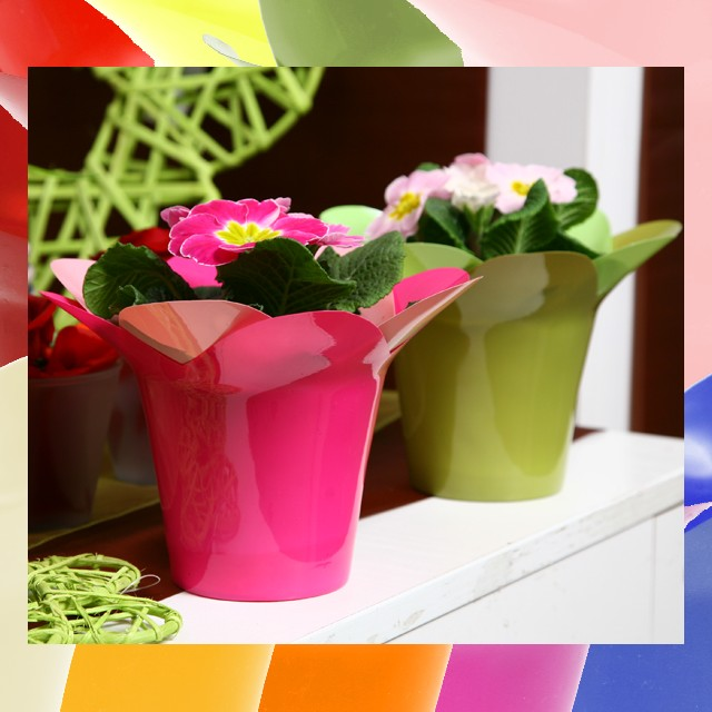 PVC POT COLOUR 14CM