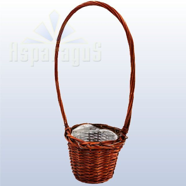 WICKER BASKET 13X18X5,5CM HANDLE:16CM/BROWN