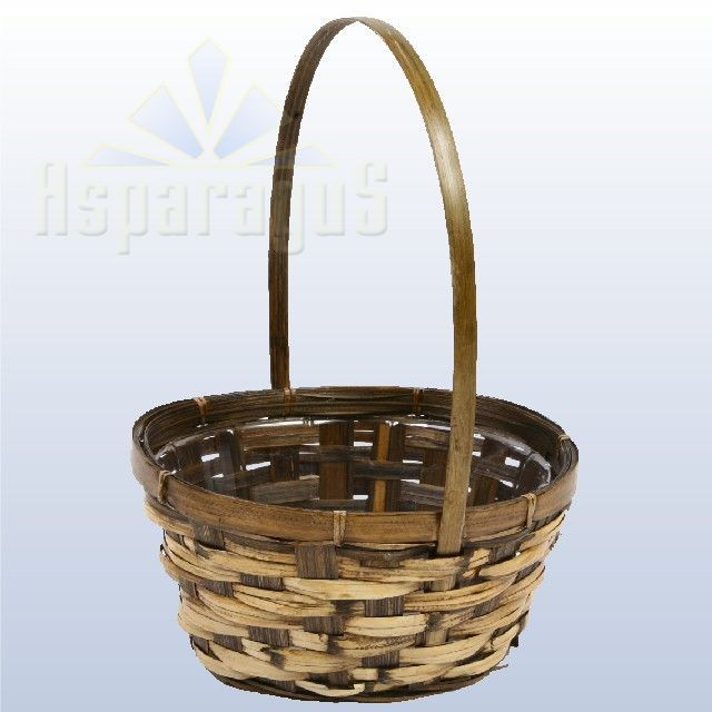 BAMBOO BASKET WITH HANDLE / BROWN