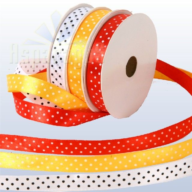 SATIN RIBBON WITH DOTS 12MMX12,5M